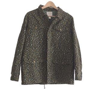 Forever 21 Green Leopard Print Jacket Large